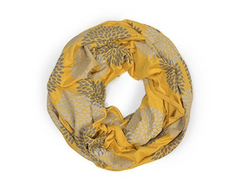 Printed Scarf - Floral Infinity Scarf - Mustard Loop Scarf - Little Minnow - Screenprinted Yellow