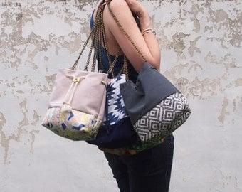 Dark grey Bucket bag Handbag with ethnique geometric panel handmade black charcoal grey and white