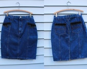 Vintage Vtg Vg 1970's 70's Denim Jean Skirt High Waisted with Leather Detailing Hipster Country Western Rocker Americana Women's Medium