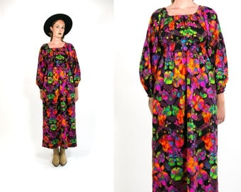 Vintage 1970's Neon Floral Print Dress Bohemian Romantic Women's Retro/Hipster/Mod Size Medium Large Maxi Dress