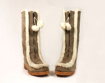 Vintage VTG VG 1970's 70's SNOWLAND Faux Fur and Suede Winter Snow Boots Hippie Bohemian Women's Size 8 9 Tall Boots Made in Canada Retro