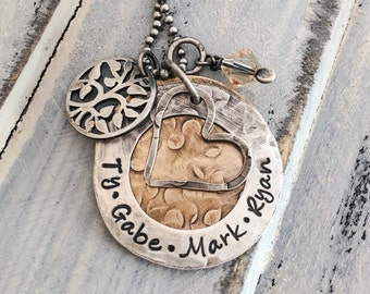 Mother's Day Family Tree Jewelry -- Hand Stamped Necklace -- Personalized Rustic Jewelry