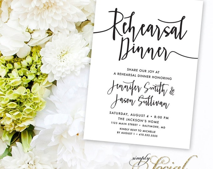Calligraphy Rehearsal Dinner Invitation - Black and White Calligraphy Typography Printable Classy