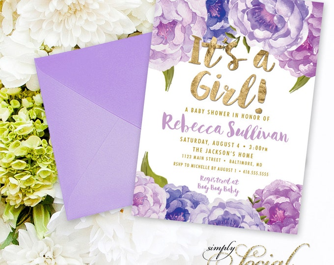 Purple Floral Baby Shower Invitation - Floral Lilac Faux Gold Foil Boho Flowers Watercolor Botanical It's a Girl Printable Party Invite
