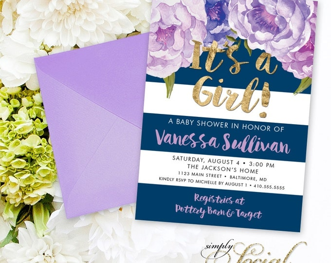 Floral Baby Shower Invitation - Floral Peony Purple Faux Gold Foil Navy Stripes Boho Preppy Flowers Watercolor Botanical It's a Girl