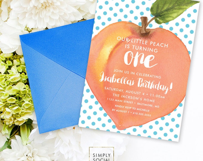 Peach Birthday Party Invitation - Watercolor Peach with Blue Polka Dots First Birthday Invite Printable Sweet as a Peach Sweet Peach