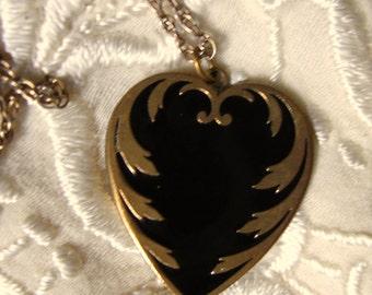 Edwardian Black Enamel Brass Heart Pendant on Chain