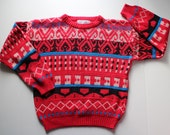 Vintage 80's Ugly Sweater for Kids - Red Striped Sweater - Ski Sweater -   Nordic - Gitano