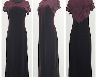 60% OFF Vintage 1990s Maroon Stretchy Velvet Floral Burnout Sheer Maxi Dress M (G)