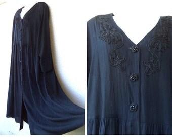 90s MAXI DRESS. Ethnic Embroidered Dress. Gauze Dress. Boho Dress. Pagan Dress. Huge Sweep. Rayon Dress. Black Dress. Wiccan Dress.XXL