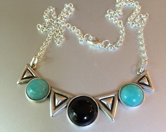 Black Onyx Turquoise Silver Necklace