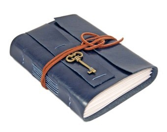 Navy Blue Faux Leather Journal - Blank Paper - Key - Prayer Journal - Travel Journal - Notebook - Music Journal - Ready to Ship -
