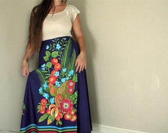 Vintage Sarong Beach Wrap Tropical Blue Red Green Leaf Flower 1970s 70s Boho Maxi Skirt