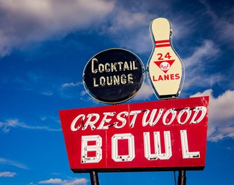Crestwood Bowling Alley Print | Route 66 Sign | Neon Sign Print | Man Cave Wall Art | Game Room Decor | Man Cave Decor | Game Room Wall Art