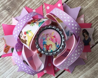 NEW ITEM Boutique Baby Girls Layered Disney Princesses Hair Bow Clip..Perfect for Disney Photo Props Birthday St