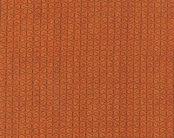 ON SALE Moda Forest Fancy Deb Strain 1/2 Yard Scroll Trellis Orange Halloween 19716-11
