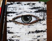 Original Painting - Aspen's Eye -Tree Painting - Small Original Painting