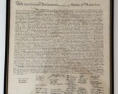Vintage Framed Declaration of Independence