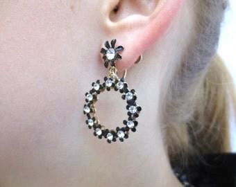 50s Rhinestone Hoop Dangle Earrings, Black Flowers Rhinestone Centers, 1950s Screw Ons, Rockabilly, New Years Eve, Jackpot Jen vintage