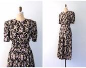 CLEARANCE SALE // vintage 80s floral print black rayon dress / Karin Stevens - purple flowers & scrolls