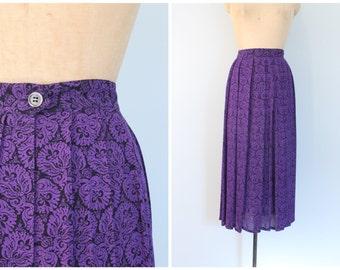 vintage Perry Ellis skirt - purple & black scroll print midi skirt / 90s high waisted pleated skirt / Perry Ellis - Portfolio