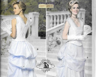 Butterick B5696 Historical Victorian Southern Belle 2-Pc Dress Top And Skirt Costume Sewing Pattern 5696 Steampunk Size 14, 16, 18 and 20