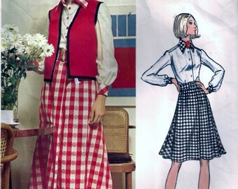 Vogue 2703 Vintage 1970s CHUCK HOWARD Designer Dress, Shirt and Vest Sewing Pattern Size 10