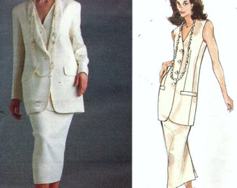 Vogue 1165 Donna Karan DKNY Misses Jacket Vest And Skirt Sewing Pattern UNCUT Size 6, 8 And 10