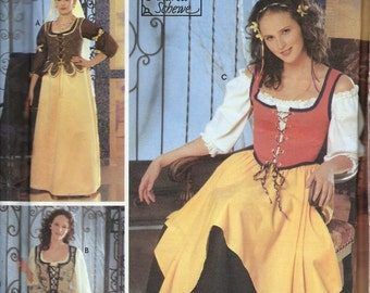 Simplicity 5582 Renaissance Faire Wench Dress Costume Sewing Pattern Size 4, 6, 8 and 10 UNCUT SCA LOTR