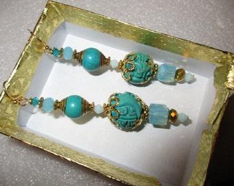 Luxurious OOAK GENUINE Carved Vintage TURQUOISE w/Brass, Swarovski Crystals & Vermeil Dangle/Drop Pierced Earrings  - Estate Find!