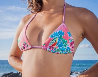INDIE ATTIRE - String Bikini Top - Pink Floral Print