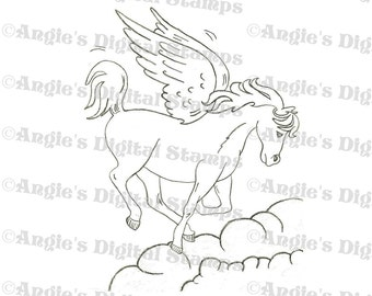 Pegasus In Clouds Digital Stamp Image