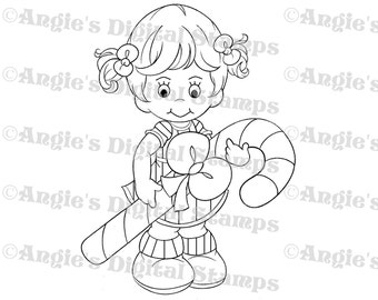 Little Lila With A Candy Cane Digital Stamp Image