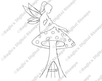 Fairy Sitting on Toadstool House Digital Stamp Image