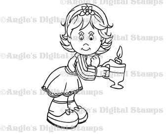 Daisy May With A Candle Digital Stamp Image