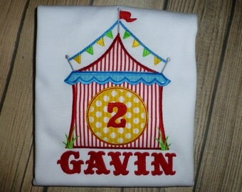 Circus Tent Birthday Shirt or Bodysuit - Carnival Birthday Shirt with Personalization