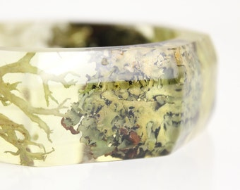 woodland bracelet eco resin lichen, moss  and bark eco resin statement bangle