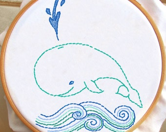 Happy Little Whale - PDF Hand Embroidery Pattern