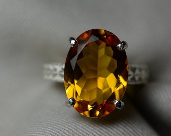 Citrine Ring, 9.45 Carat Citrine Solitaire Ring Appraised at 550.00, Sterling Silver Natural Citrine Jewelry, November Birthstone,