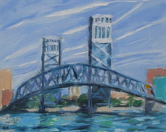"Jet Trails Original Oil Plein Air Painting- 8"" x 8"""