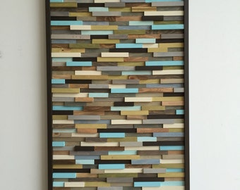 Abstract Painting on Wood - Reclaimed Wood Art Sculpture - Modern Wall Art- 24x48