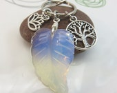 Moonstone keychain - opalite gemstone keyring - moonstone carved leaf keychain - Tree of life keychain lotus flower silver with swivel clasp