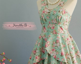 Roses Petal - Summer's Whisper Collection Spring Summer Sundress Mint Green Floral Party Dress Wedding Bridesmaid Dresses Floral Dress XS-XL