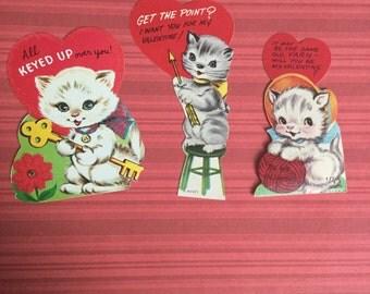 Vintage Valentine card Lot kittens yarn skeleton key