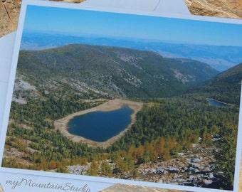 Mountain Lake Photo Note Card. Montana Backcountry Outdoor Nature Photography.