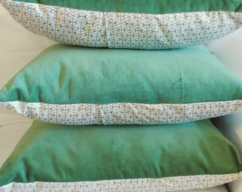 Velveteen pillow - green white gold - Christmas accent pillow