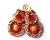 warm cashmere - soutache earrings - free shipping