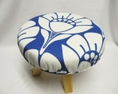 Round Foot Stool - Modern Decor - Royal Blue and White Floral Design