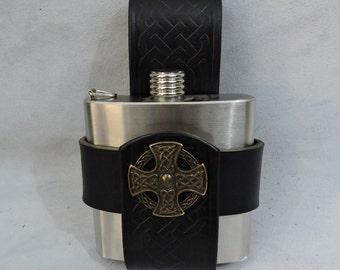 Customizable Celtic 6oz Hip Flask Holder, with decorative Medallion