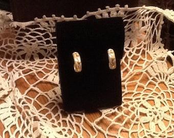 14k Tri Color Gold Hoop Earrings Beautiful Fine Jewelry Vintage 80's SALE